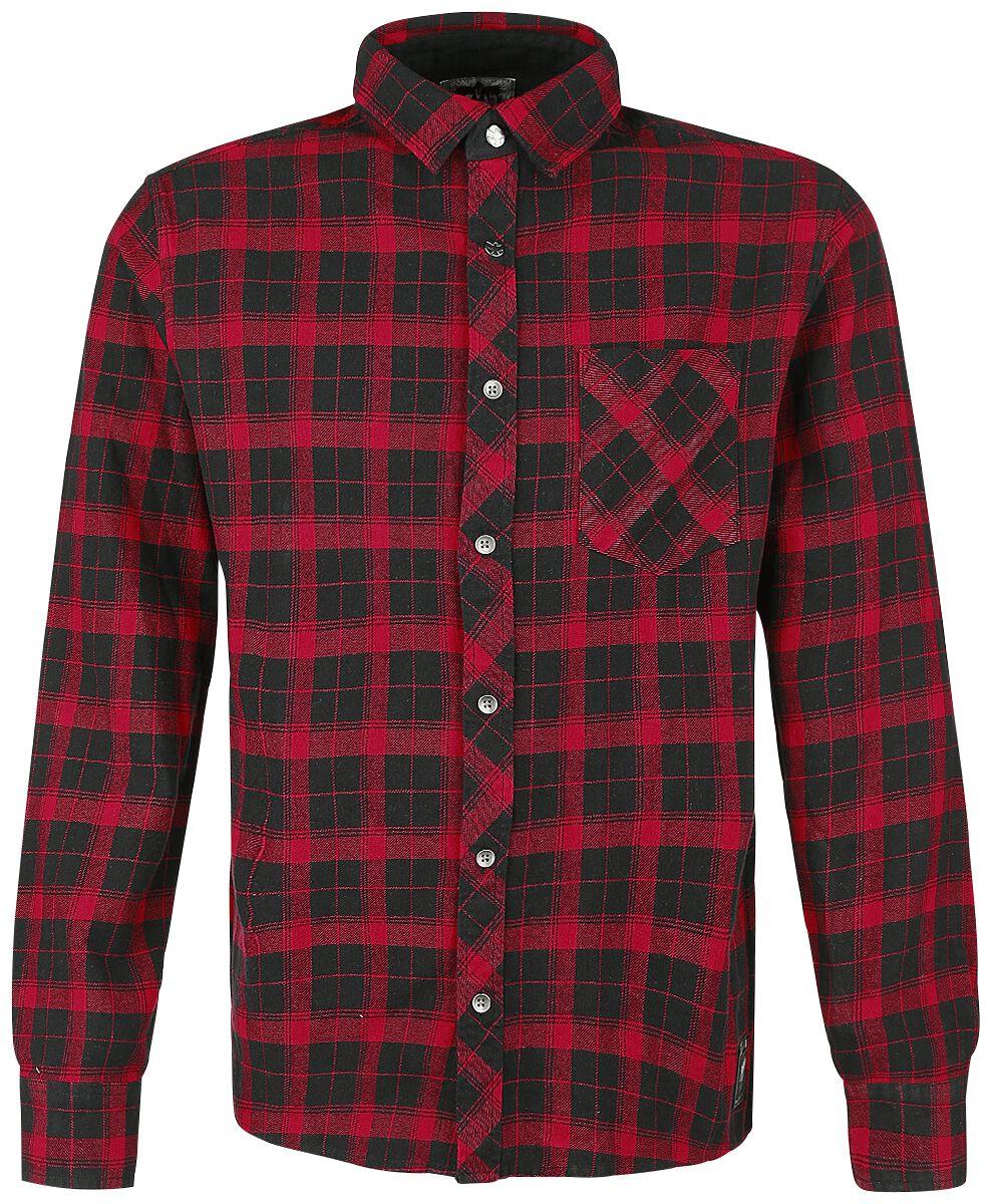 Image of   Black Premium by EMP Basic Checkshirt Skjorte sort-rød