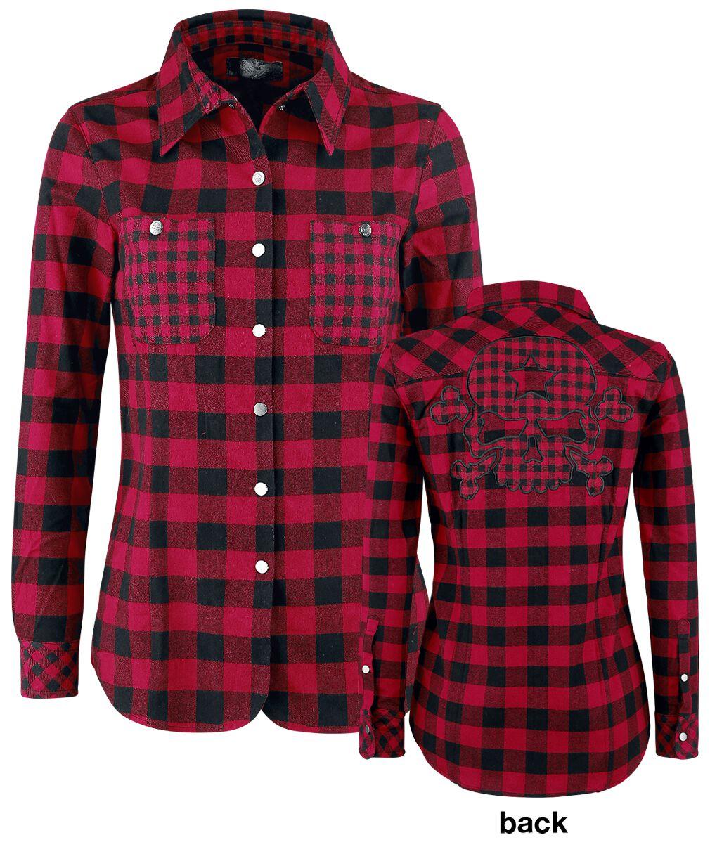 Image of   Rock Rebel by EMP Checkered Skull Application Shirt Girlie Skjorte rød-sort