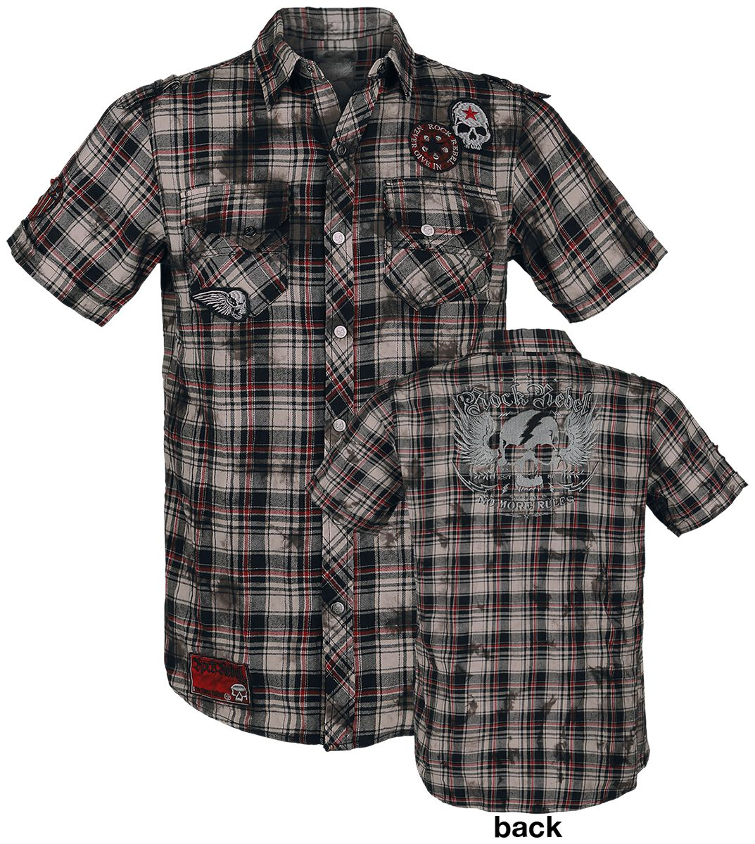 Image of   Rock Rebel by EMP Checkered Shortsleeve Shirt Skjorte grå-hvid