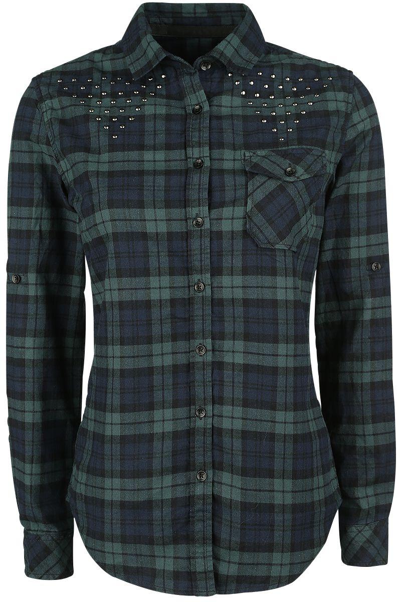 Image of   Black Premium by EMP Checkshirt Girlie Skjorte sort-grøn