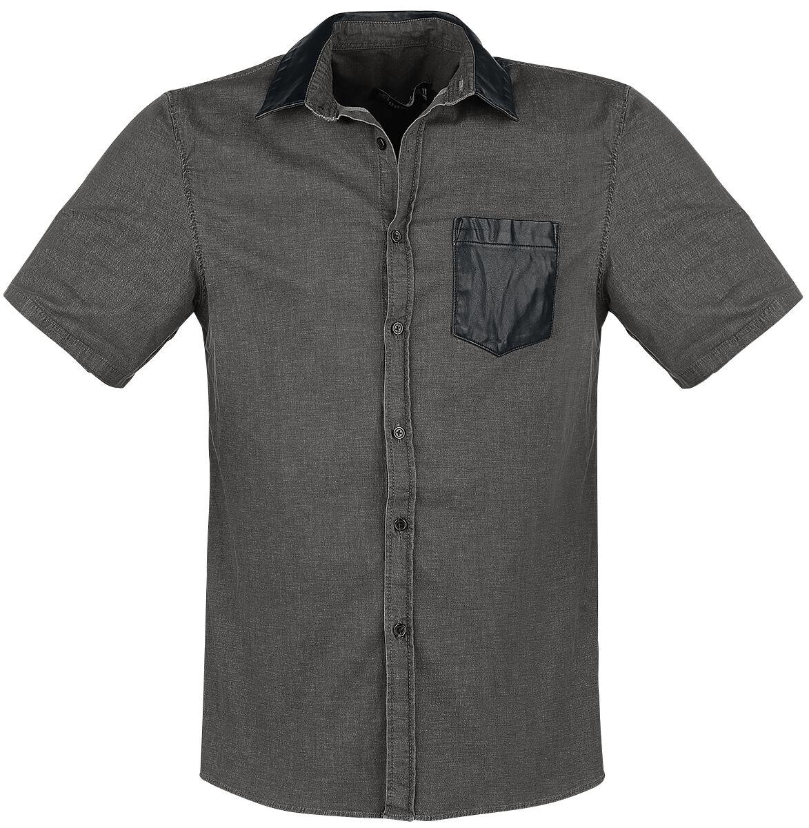 Marki - Koszule z krótkim rękawem - Workershirt Doomsday Leather Shirt Workershirt szary - 342982