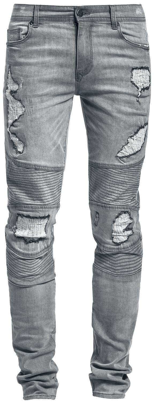 Marki - Spodnie długie - Jeansy Doomsday Destroyed Biker Jeans Jeansy szary - 342999