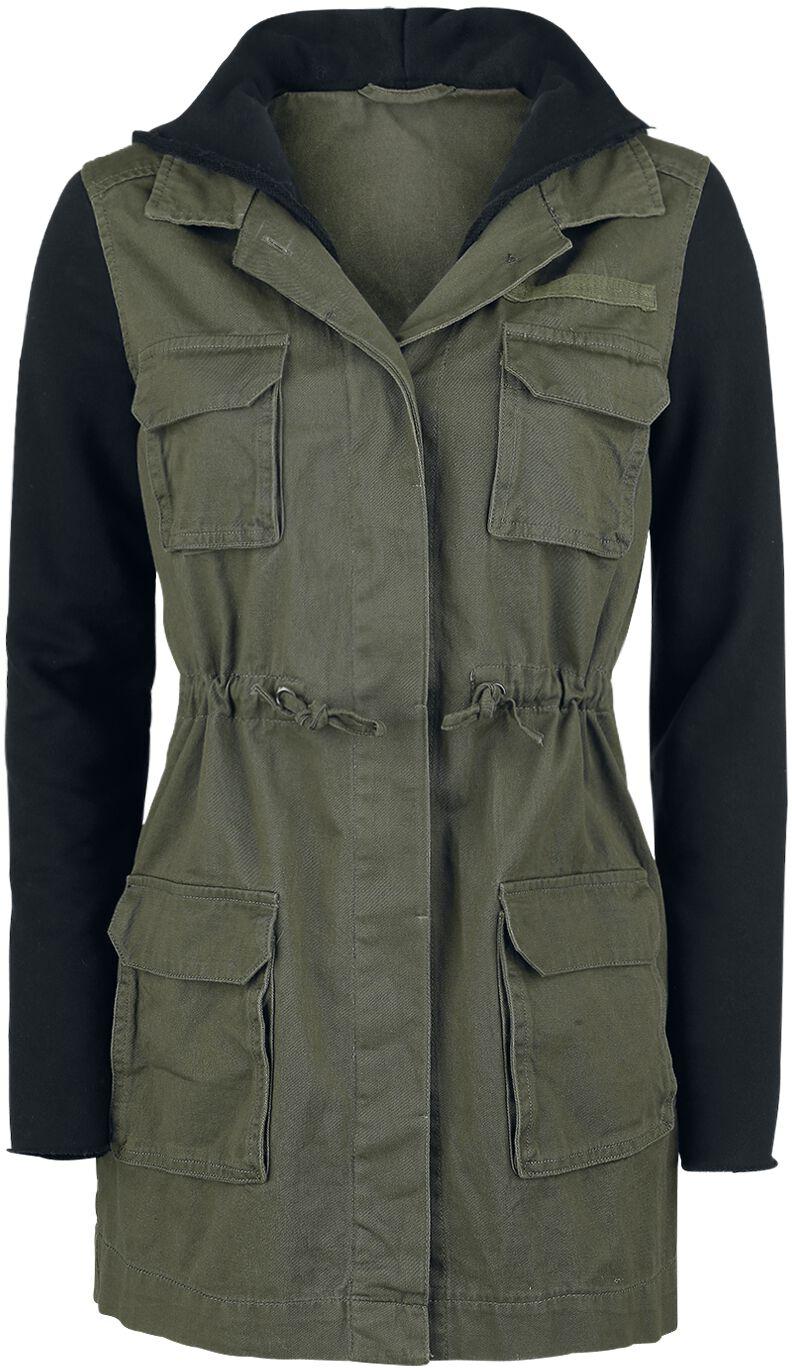 Image of   Forplay Contrast Sleeve Military Jacket Girlie jakke olivengrøn-sort
