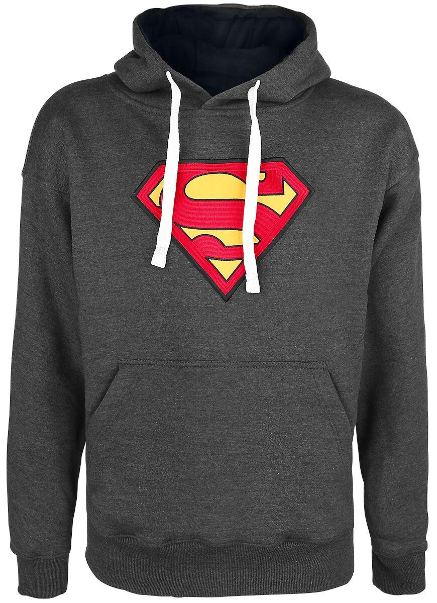 Merch dla Fanów - Bluzy z kapturem - Bluza z kapturem Superman Logo Bluza z kapturem odcienie szarego - 343109