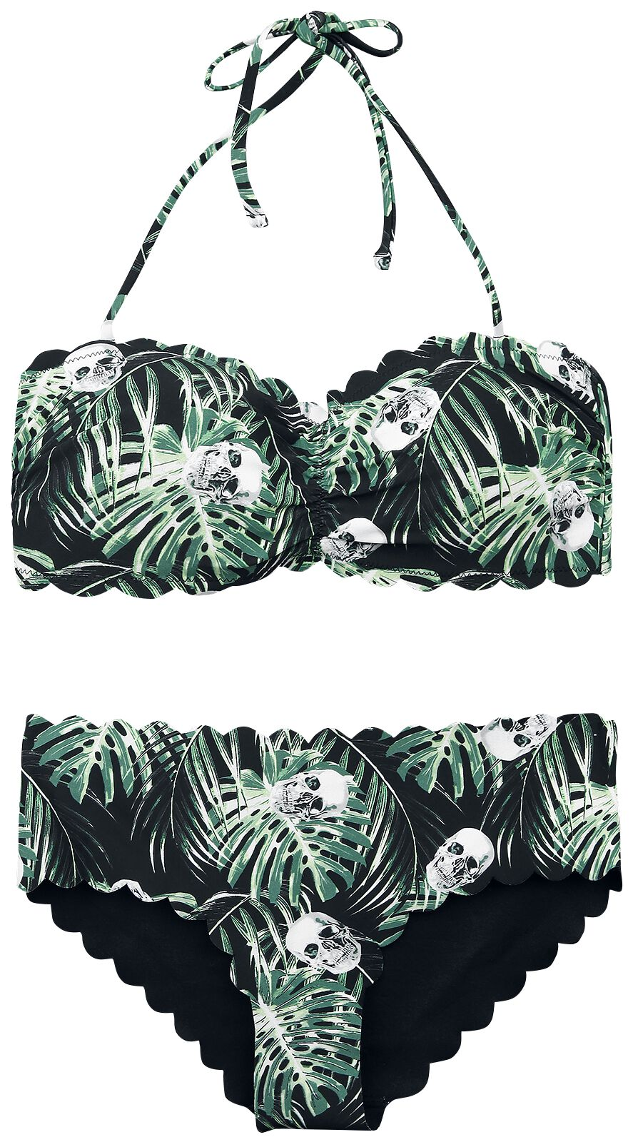 Image of   Full Volume by EMP Jungle Skulls Bandeau Bikini Set Bikini sort