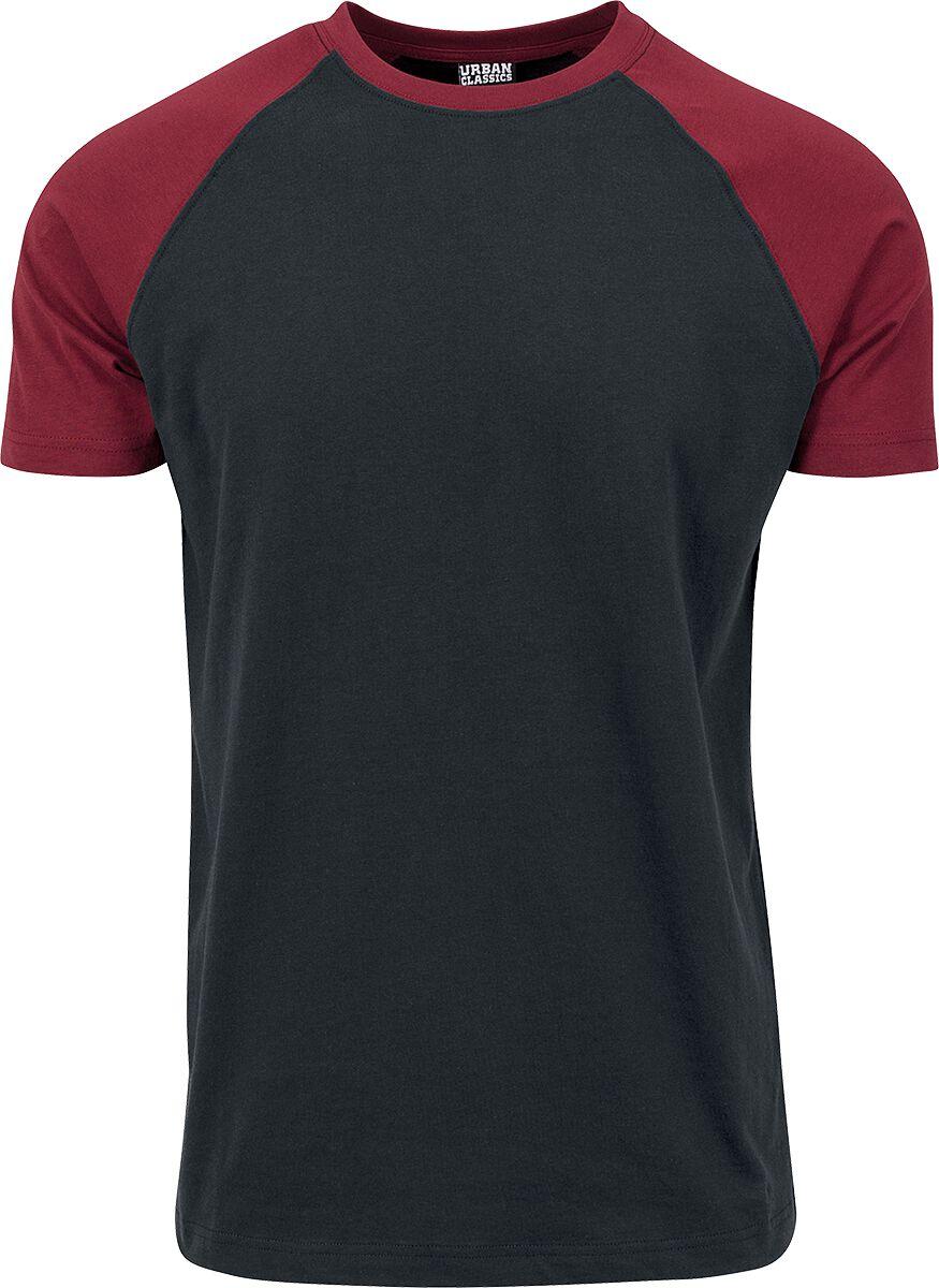Image of   Urban Classics Raglan Contrast Tee T-Shirt sort-burgundy