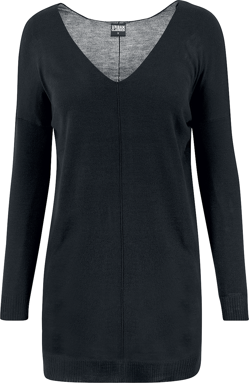 Urban Classics Ladies Fine Knit Oversize V-Neck Sweater Bluza damska czarny