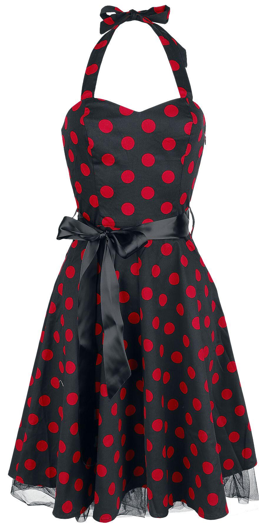 H&R London Polka Dot Dress Kleid schwarz/rot