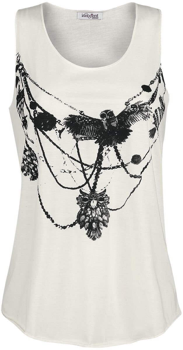 Image of   Innocent Owl Necklace Vest Girlie top råhvid