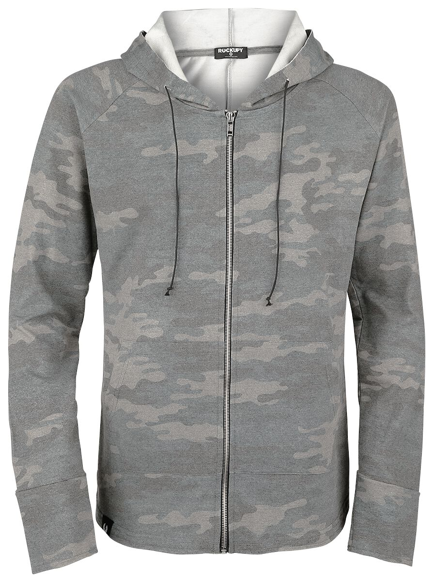 Marki - Bluzy z kapturem - Bluza z kapturem rozpinana Rockupy Washed Camo Hoody Jacket Bluza z kapturem rozpinana kamuflaż - 344766