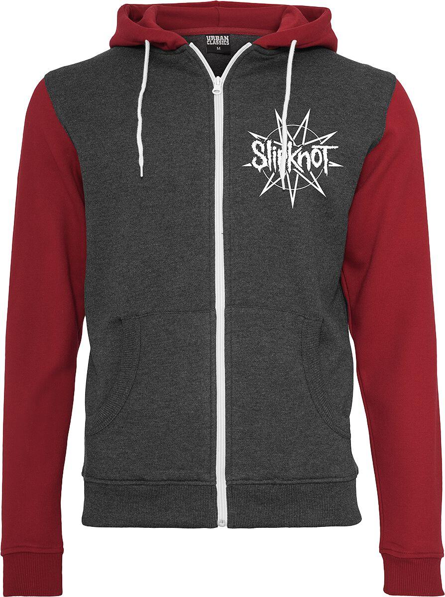 Zespoły - Bluzy z kapturem - Bluza z kapturem rozpinana Slipknot Goat Star Logo Bluza z kapturem rozpinana czerwony/szary - 345100