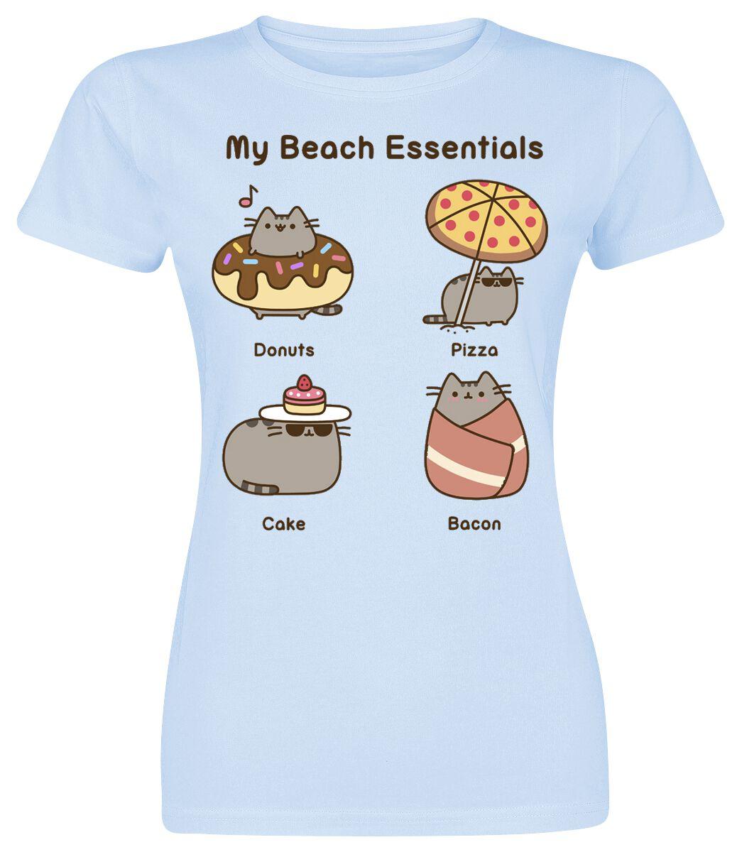 Merch dla Fanów - Koszulki - Koszulka damska Pusheen Beach Essential Koszulka damska jasnoniebieski - 345140