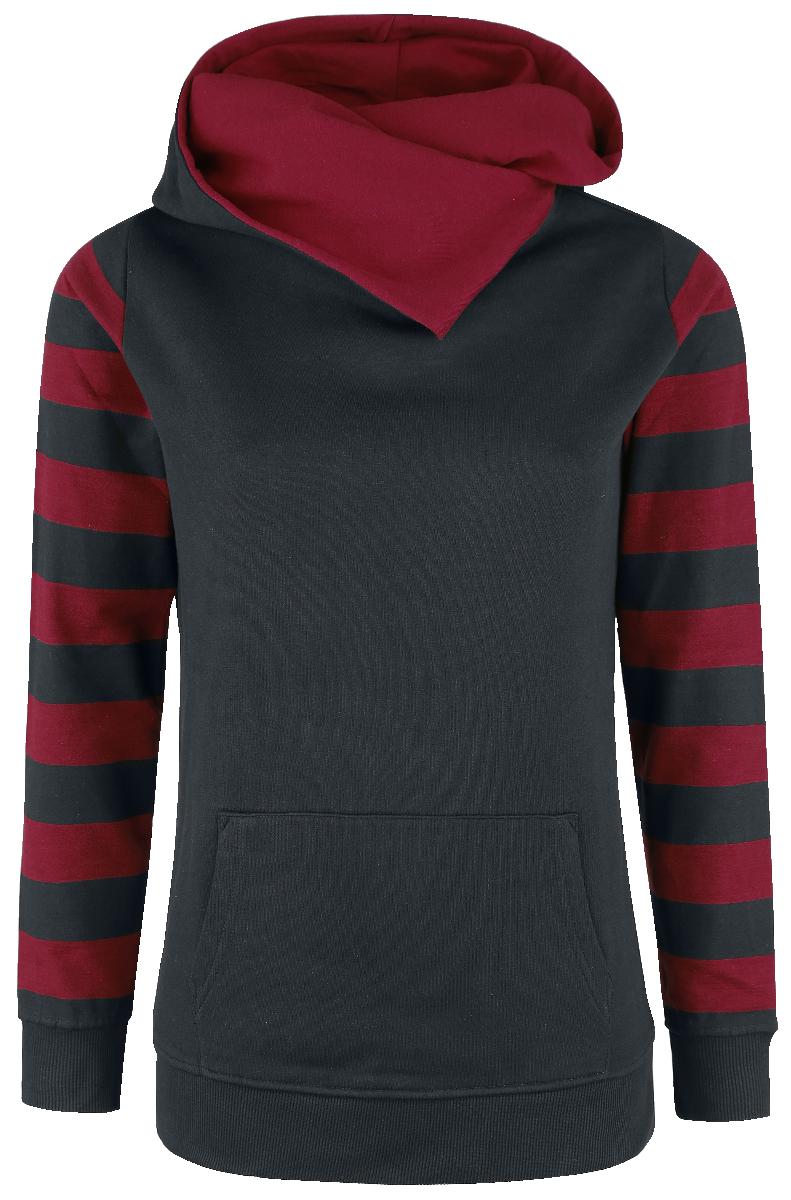 Nastrovje Postdam Shawl Collar Stripes Hoodie Bluza z kapturem damska czarny/burgund