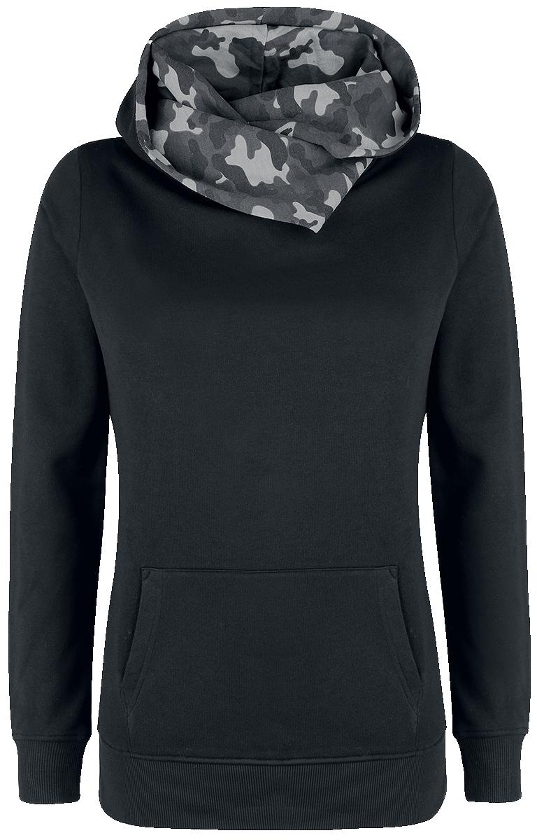 Nastrovje Postdam Shawl Collar Military Hoodie Bluza z kapturem damska czarny/ciemny kamuflaż
