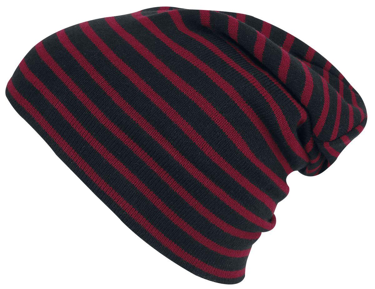 Basics - Czapki i Kapelusze - Beanie Striped Beanie Beanie czarny/czerwony - 345920