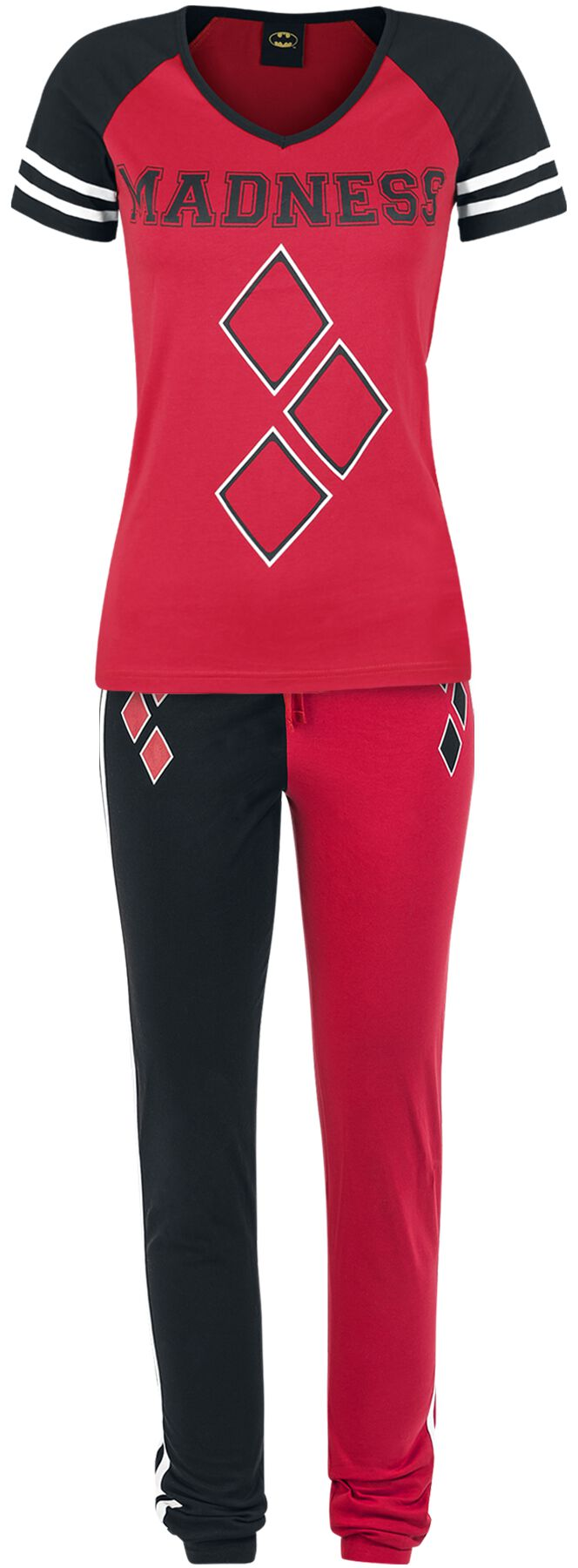 Merch dla Fanów - Do sypialni - Pidżama Harley Quinn Madness Pidżama czarny/czerwony - 345969