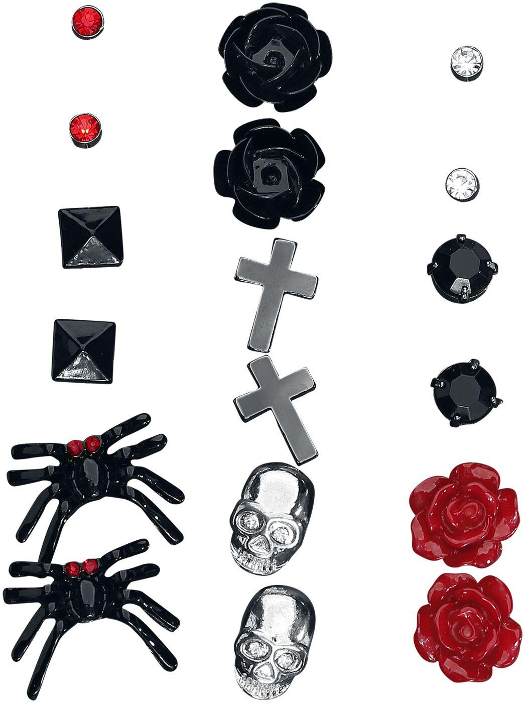 Image of   Blackheart Dark Passion Ørestik sæt sort-sølv-rød