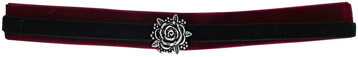 Image of   Blackheart Rose Halsbånd sort-bordeaux