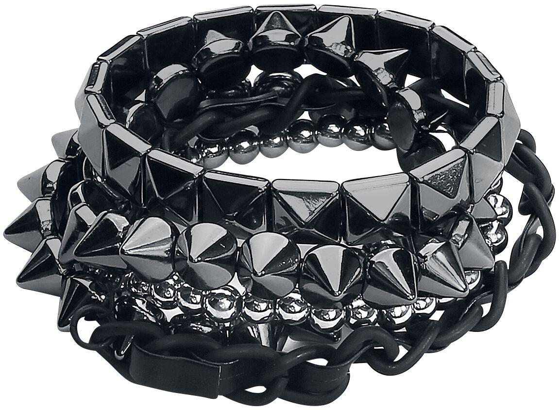Image of   Blackheart Silver Spikes Armbånd, sæt sort-sølv