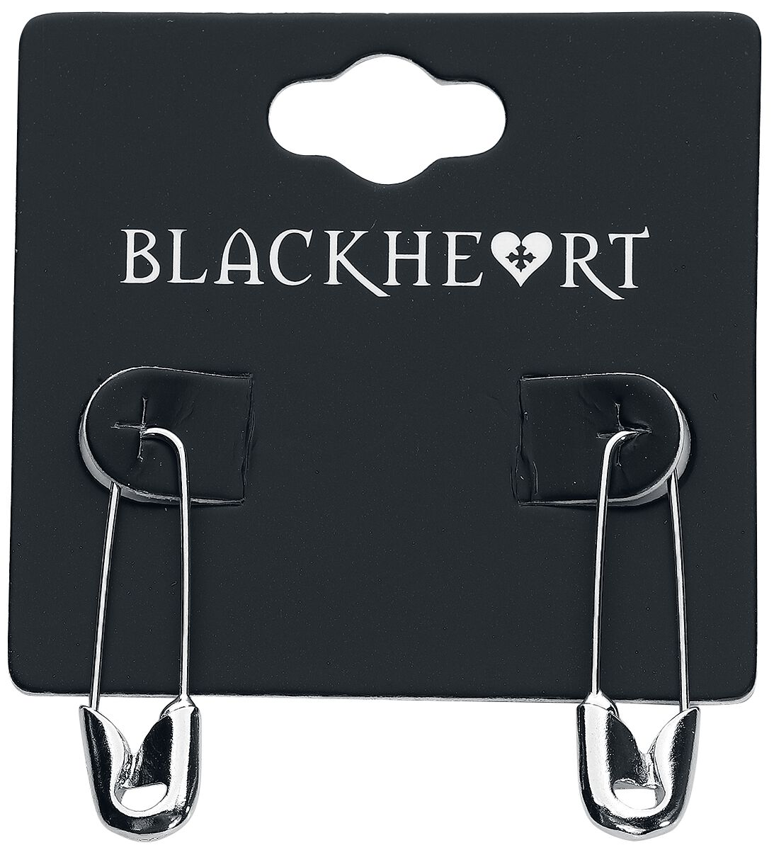 Image of   Blackheart Safety Pin Øreringe sæt sølvfarvet