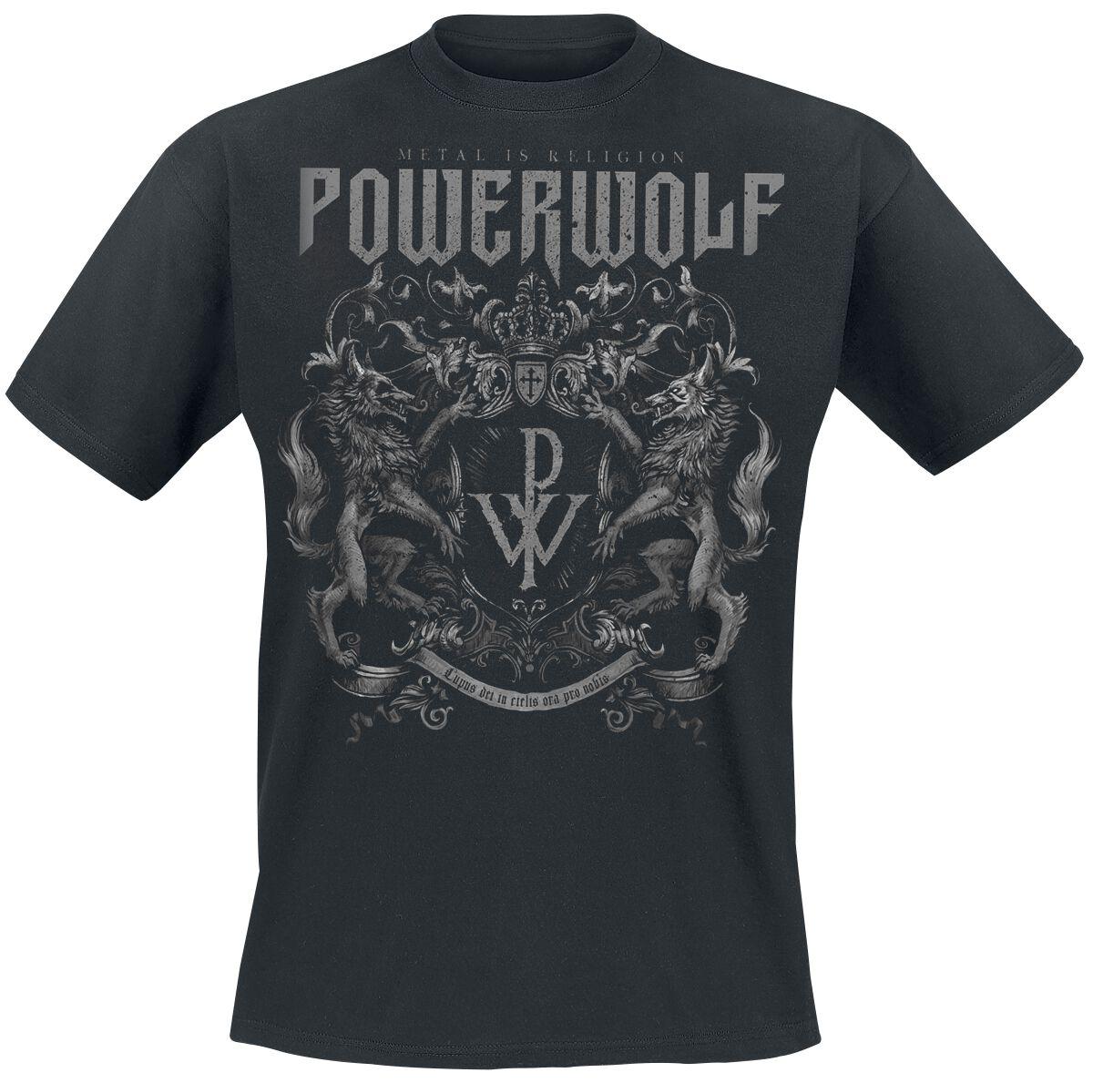 Image of   Powerwolf Crest - Metal Is Religion T-Shirt sort