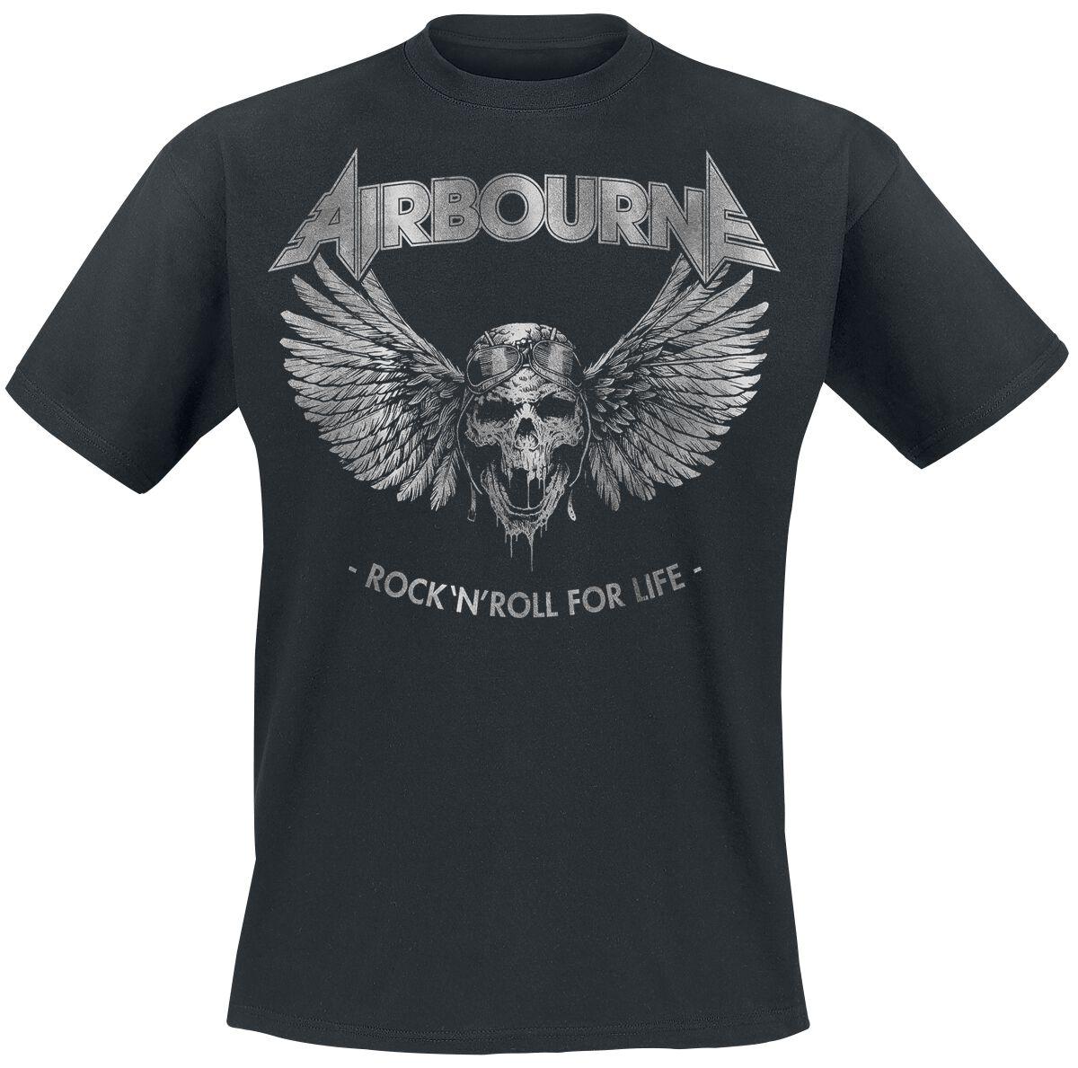 Zespoły - Koszulki - T-Shirt Airbourne Rock 'N Roll For Life T-Shirt czarny - 346928