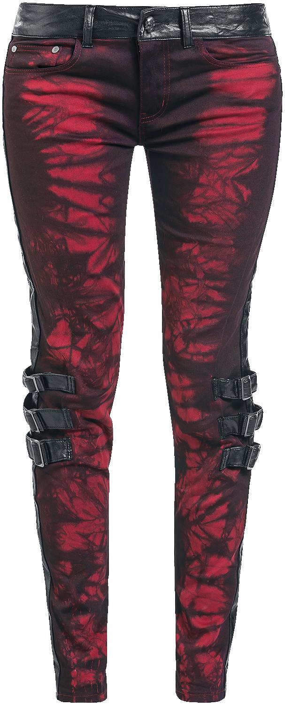 Rock Rebel by EMP Batik Megan (Skinny Fit) Spodnie damskie czerwony/czarmy