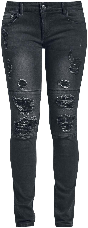 Image of   Rock Rebel by EMP Biker Destroyed Skarlett (Slim Fit) Girlie jeans sort
