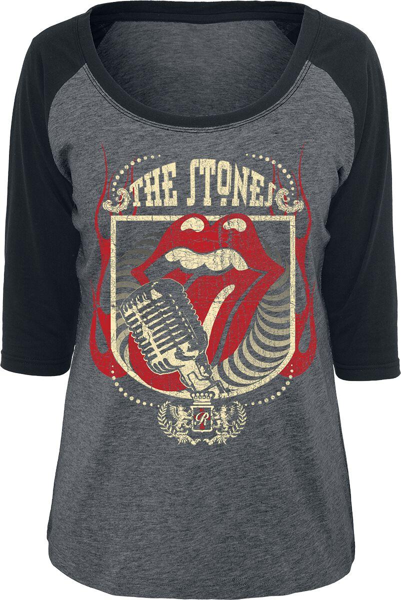 Image of   The Rolling Stones 40 Licks Girlie langærmet blandet grå-sort