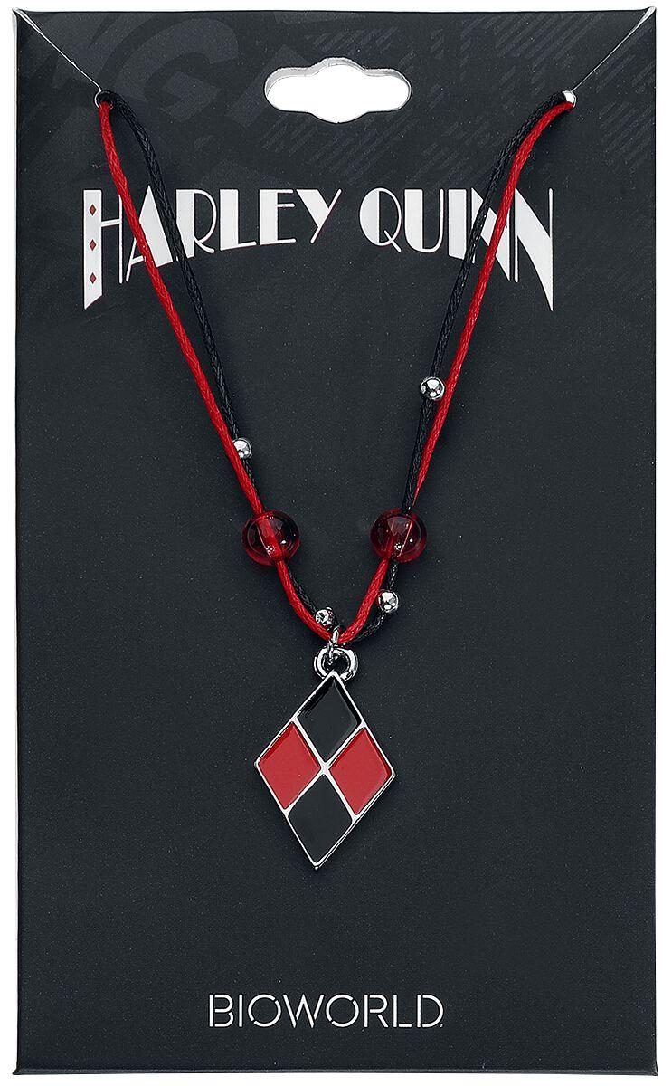 Merch dla Fanów - Naszyjniki - Naszyjnik Harley Quinn Diamond Naszyjnik czerwony/czarmy - 347545