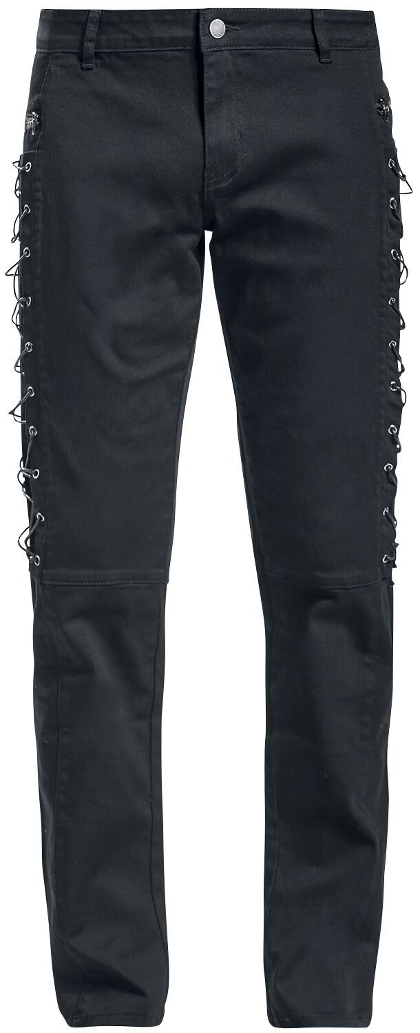Image of   Gothicana by EMP Lacing Jared (Slim Fit) Jeans sort