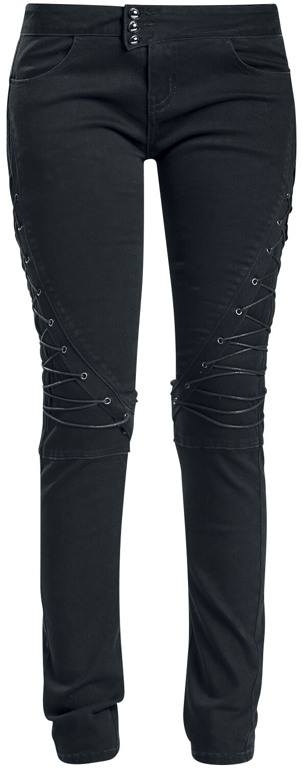 Image of   Gothicana by EMP Lacing Skarlett (Slim Fit) Girlie bukser sort
