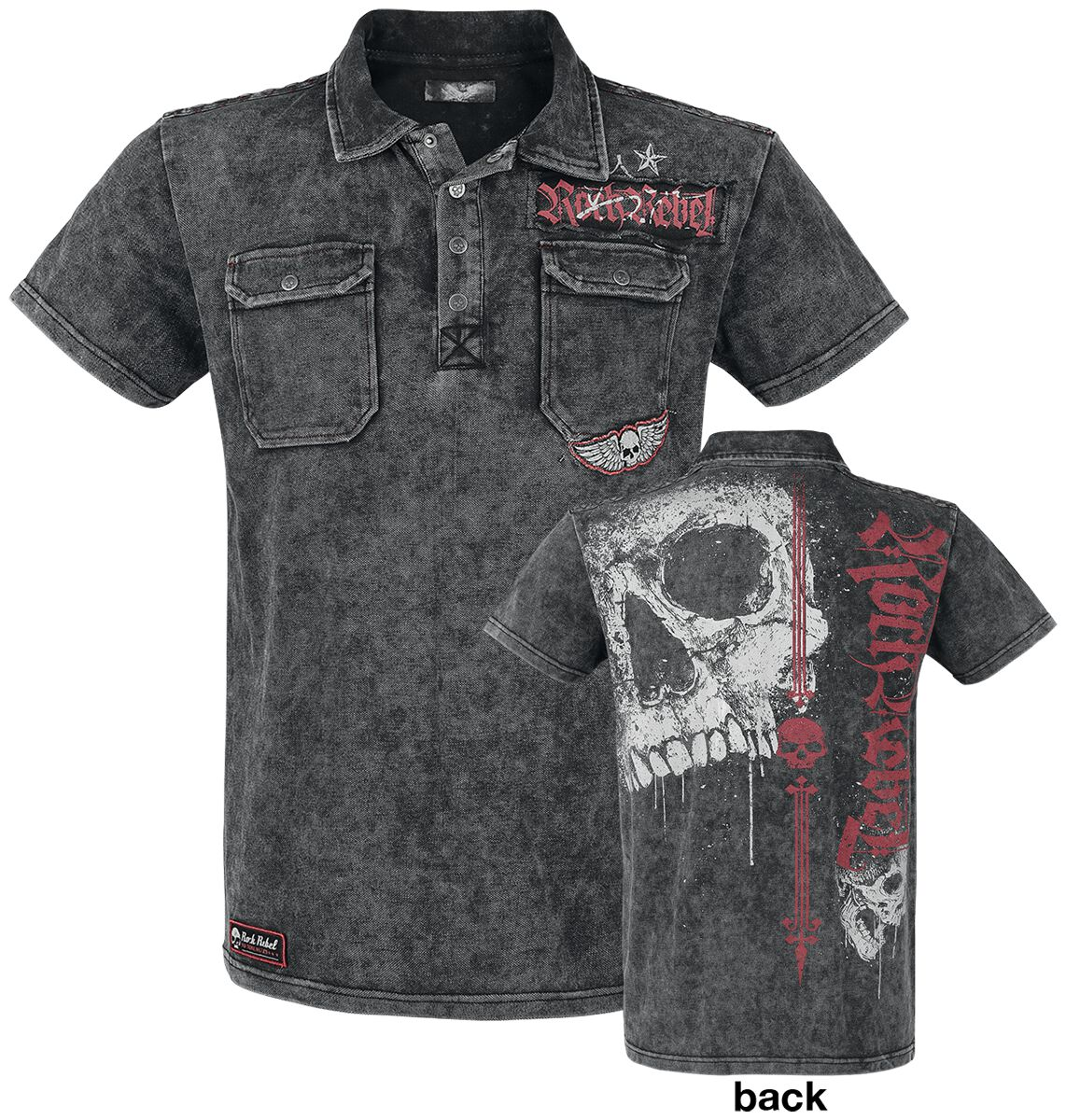 Image of   Rock Rebel by EMP Darkness Is Always Waiting T-Shirt mørk grå
