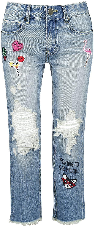 Image of   Fashion Victim Destroyed Patch Jeans Girlie jeans blå