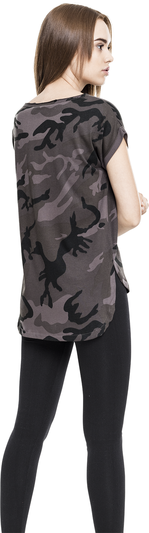 Ladies Camo Back Shaped Tee Girl-Shirt darkcamo Urban Classics Verkauf Websites u80FmAXz0