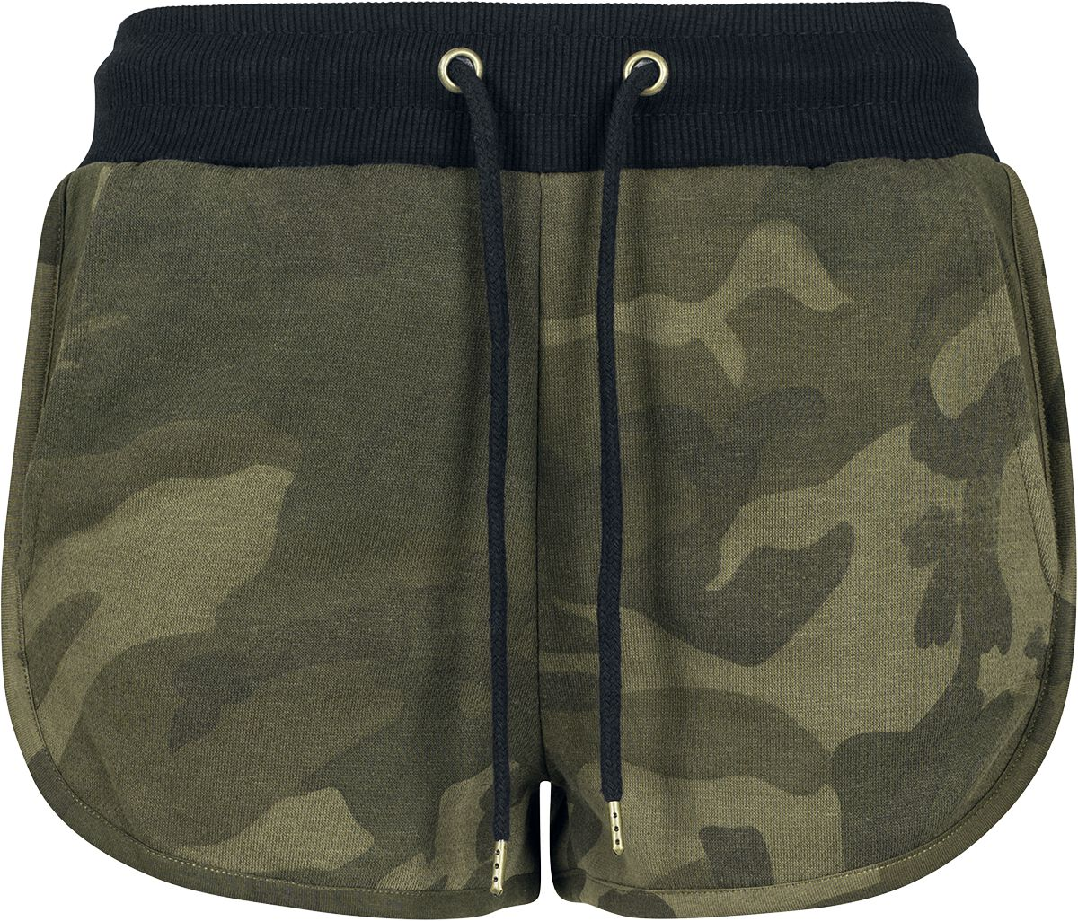 Hosen für Frauen - Urban Classics Ladies Camo Hotpants Girl Hot Pant woodland  - Onlineshop EMP