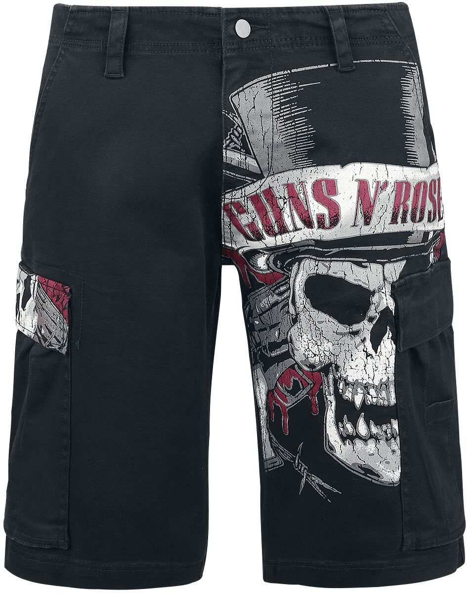 Image of   Guns N' Roses Top Hat Skull Cargo shorts sort