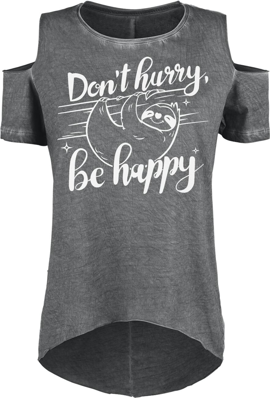 Fun & Trends - Koszulki - Koszulka damska Don`t Hurry Be Happy Koszulka damska ciemnoszary - 349936
