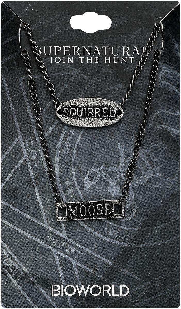 Image of   Supernatural Moose and Squirrel Halskæde sølvfarvet