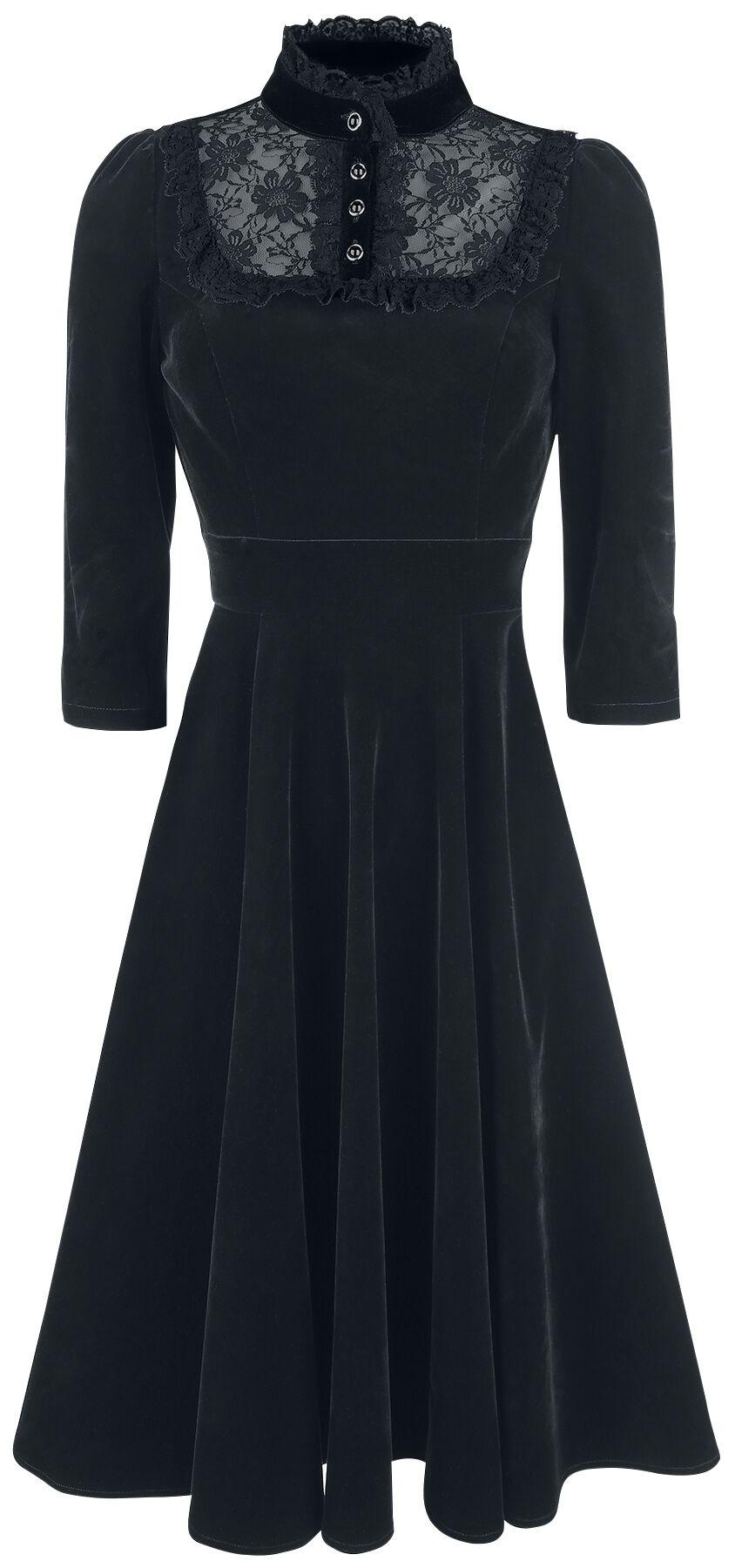 H&R London Nightshade Velvet Dress Kleid schwarz