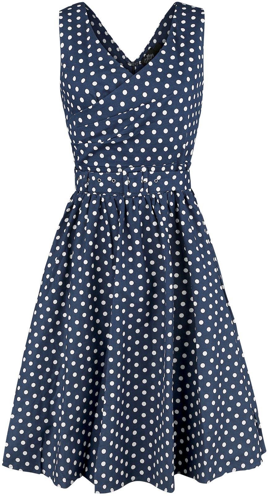 Marki - Sukienki - Sukienka Dolly and Dotty May V-neck 50's Style Spot Dress Sukienka granatowy - 350049