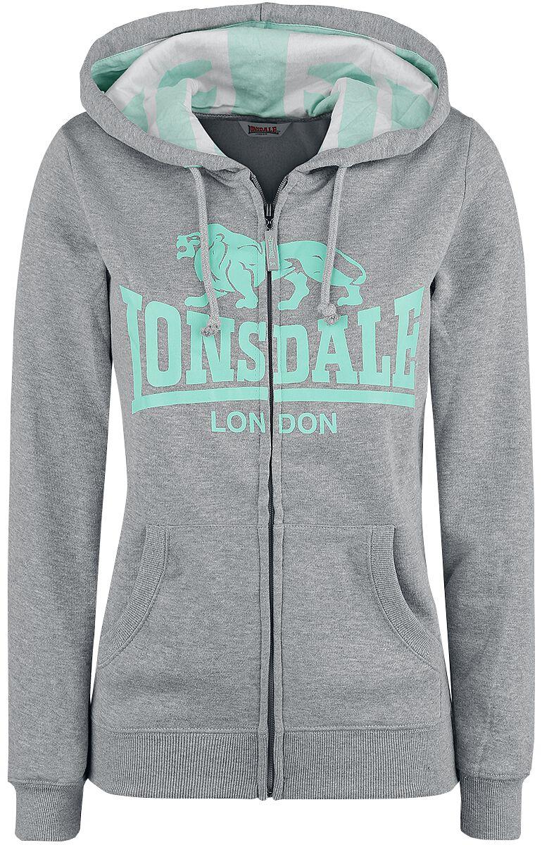 Marki - Bluzy z kapturem - Bluza z kapturem rozpinana damska Lonsdale London Hooded Zipsweat Bluza z kapturem rozpinana damska szary/turkusowy - 350314