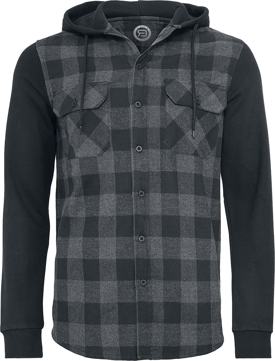 R.E.D. by EMP - Hooded Checked Flannel Sweat Sleeve Shirt - Shirt - black-grey