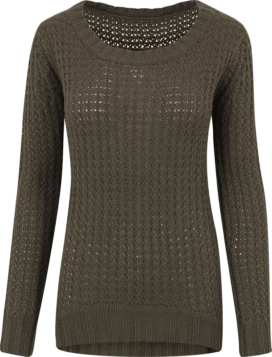 RED by EMP Long Wideneck Sweater Sweter damski oliwkowy