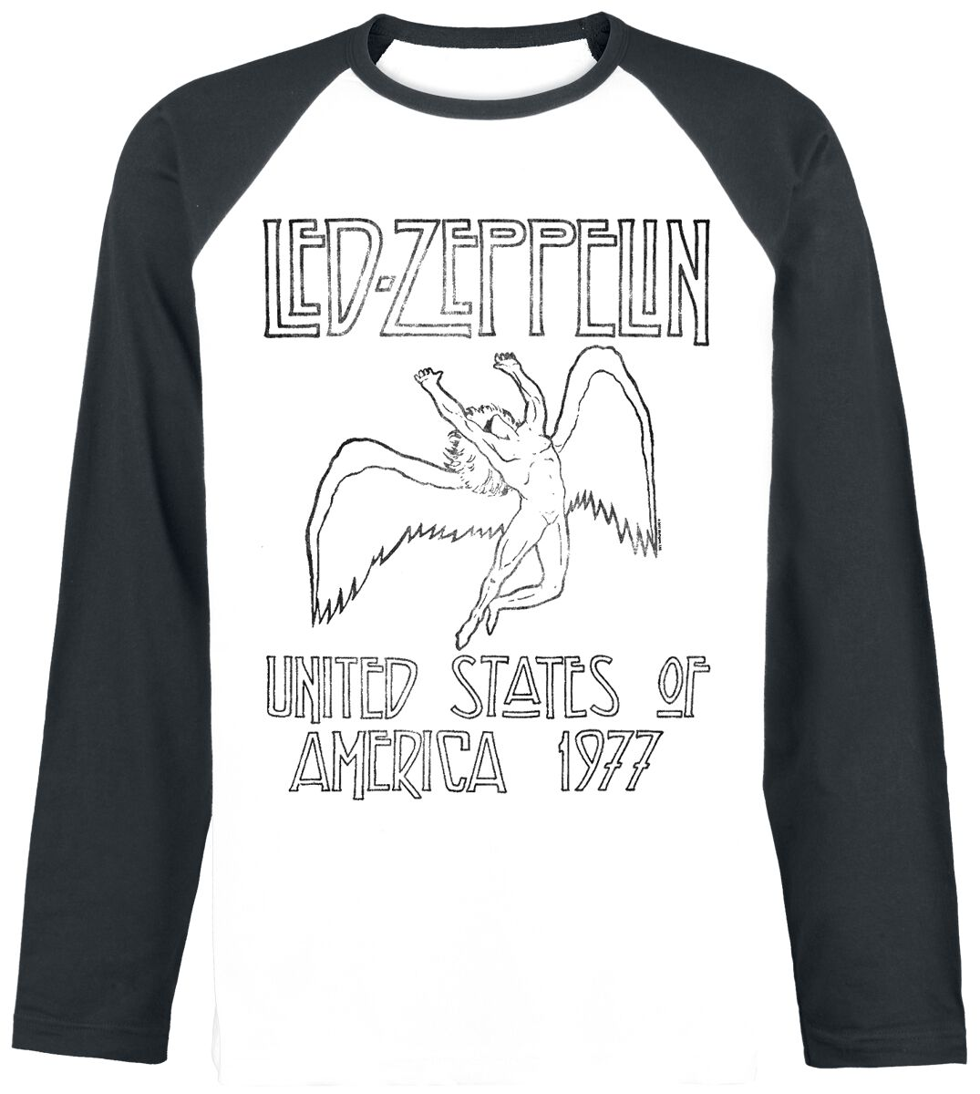 Led Zeppelin USA 1977 Baseball-Longsleeve weiß/...