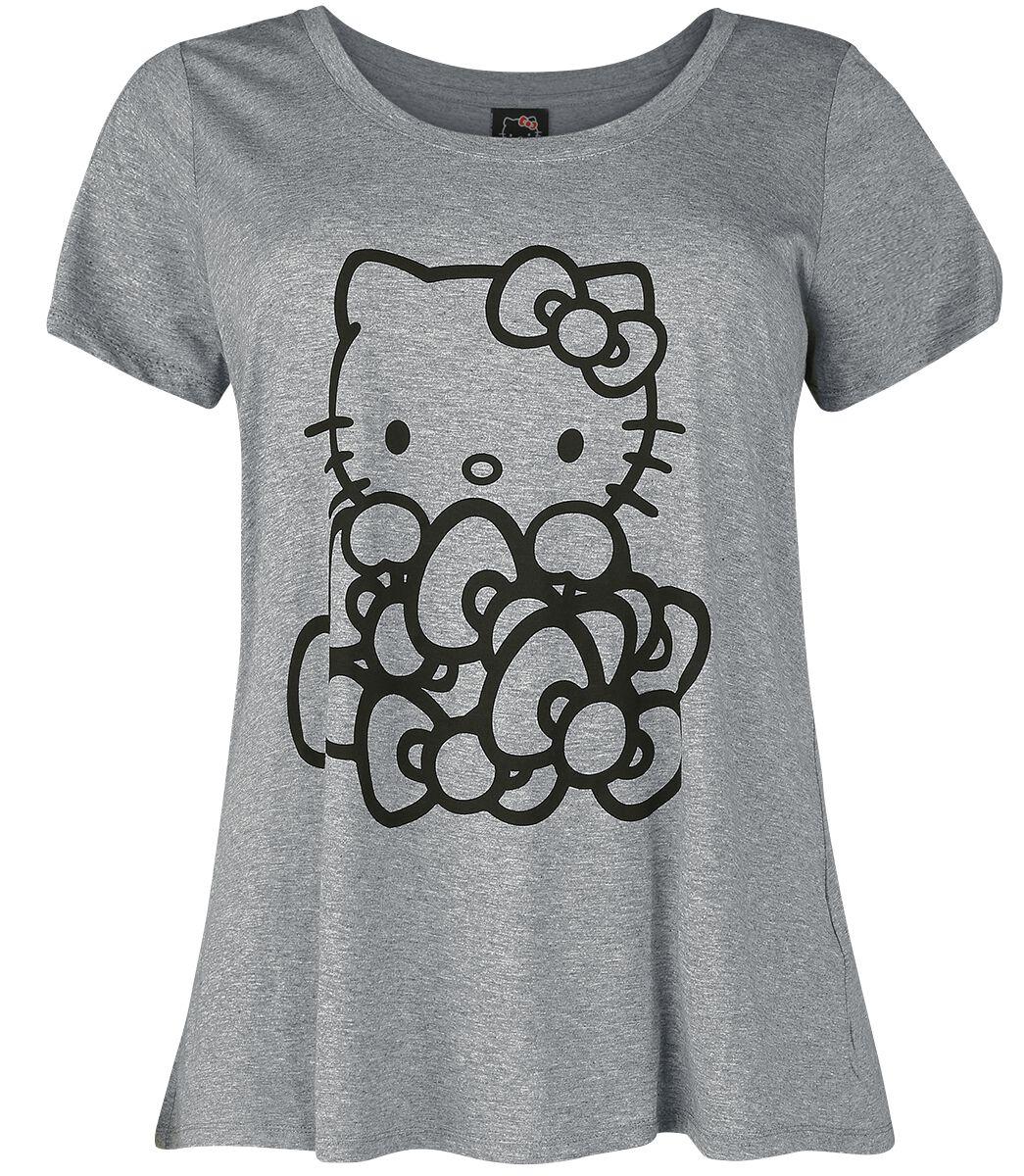 Merch dla Fanów - Koszulki - Koszulka damska Hello Kitty Pile Of Bows Koszulka damska odcienie szarego - 351137