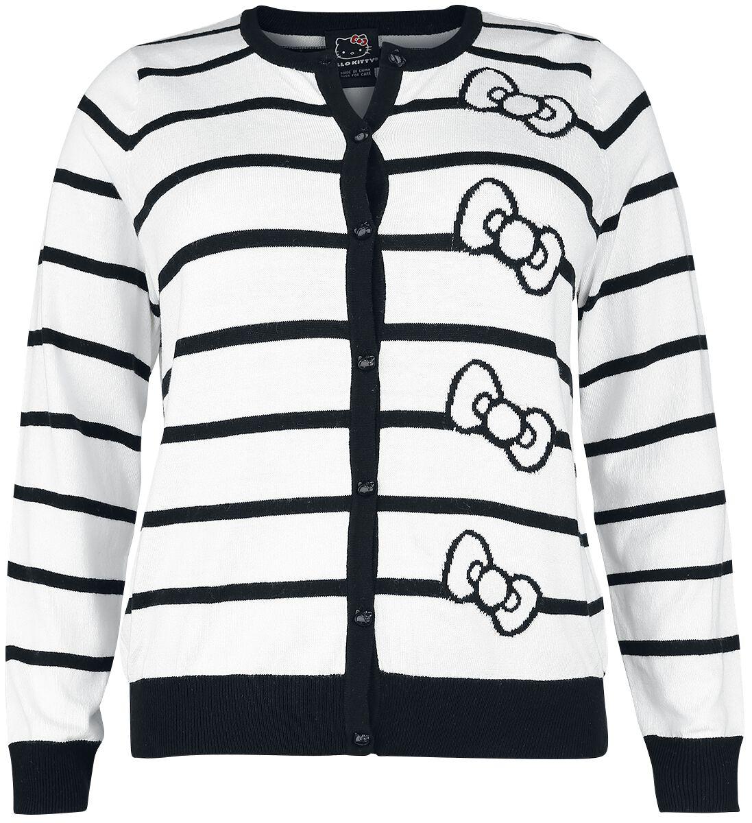 Merch dla Fanów - Bluzy - Kardigan damski Hello Kitty Bow Stripes Kardigan damski biały/czarny - 351140
