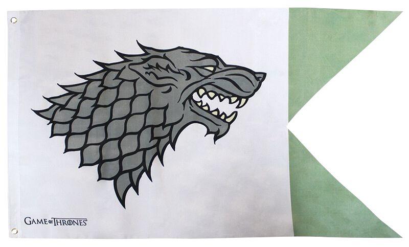 Image of   Game Of Thrones House Stark Flag hvid-grøn