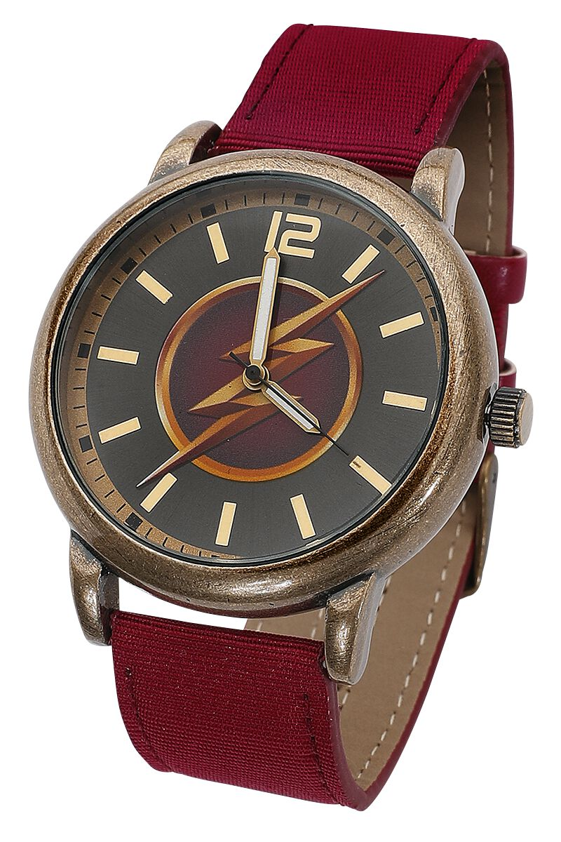 Merch dla Fanów - Zegarki na rękę - Zegarek na rękę The Flash Lightning Bolt Zegarek na rękę czerwony/złoty - 351272