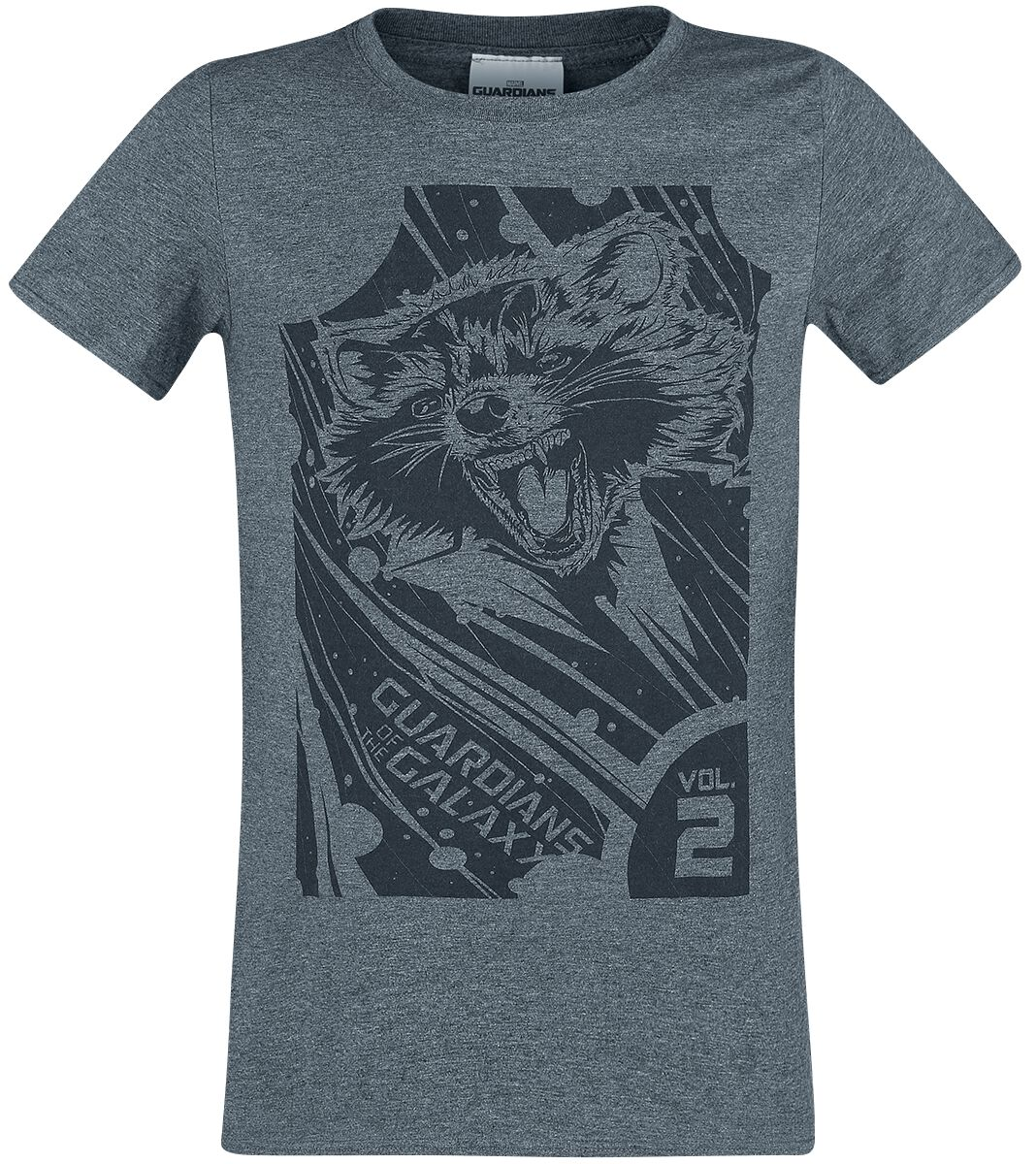 Image of   Guardians Of The Galaxy 2 - Geometric Rocket T-Shirt mørk grålig